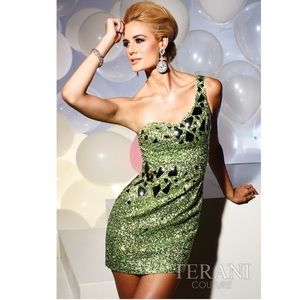 Terani Couture Size 8 One Shoulder Sequence Dress